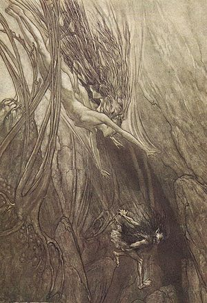Rhinemaidens - Alberich steals the gold: Das Rheingold, Scene I – part of a series of Ring illustrations by Arthur Rackham.