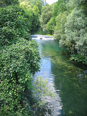 Pliva (river) - River Pliva near Jajce, in central Bosnia and Herzegovina, some 100 meters upstream from the waterfall.