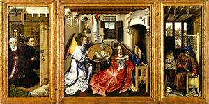 Iconography - Robert Campin's Mérode Altarpiece of 1425-28 has a highly complex iconography that is still debated.  Is Joseph making a mousetrap, reflecting a remark of Saint Augustine that Christ's Incarnation was a trap to catch men's souls?
