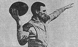 "Eddie Cochems - Brad Robinson demonstrating ""Overhand spiral--fingers on lacing"" in ""The Forward Pass and On-Side Kick"" an article in Spalding's How to Play Foot Ball, American Sports Publishing, Revised 1907 edition, written by Eddie Cochems, Walter Camp, Editor"