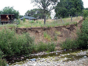 Stream restoration - Robinson Creek in Boonville, California had highly eroded stream banks prior to initiation of a stream restoration project.
