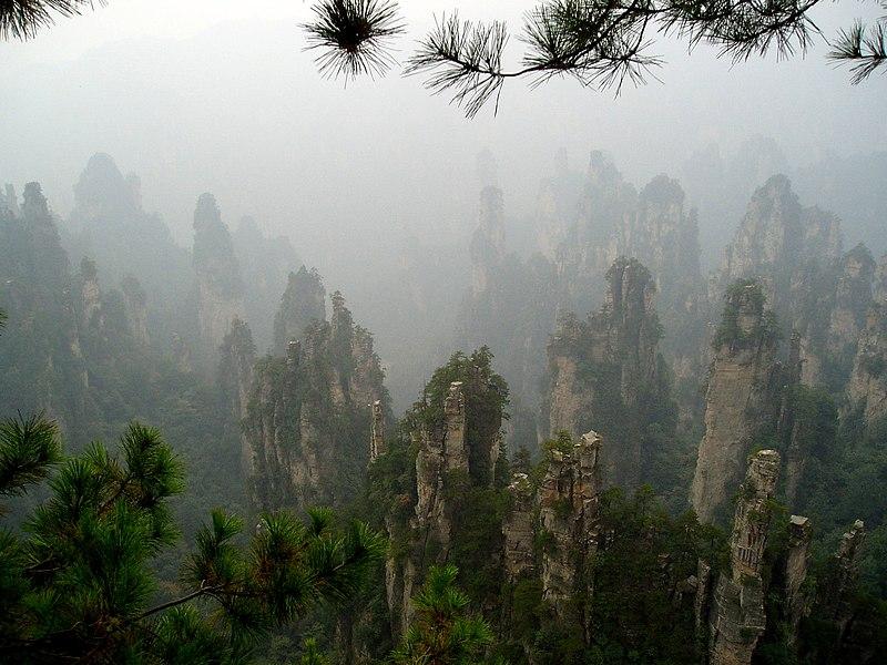File:Rock spires at Zhangjiajie, Hunan, China 2004 - panoramio.jpg