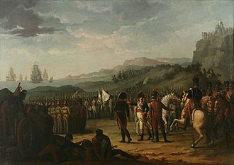 Evacuation of La Romana's division - Spanish troops under General Romana embarking for Spain, 1808.