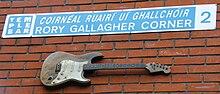 Il Rory Gallagher Corner nel quartiere di Temple Bar a Dublino (Irlanda)