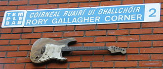 Rory Gallagher - A life-size bronze sculpture in the shape of Gallagher's Stratocaster at Rory Gallagher Corner in Dublin's Temple Bar.