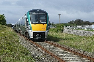 Dublin–Westport/Galway railway line - An ICR 22136 on the Rosshill level crossing on the Galway to Dublin service.