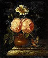 Royen, Willem Frederik van - Roses in an earthenware vase on a marble ledge.jpeg