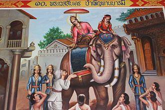 Buddhist mythology - Vessantara gives alms, from one of the most famous Jatakas, the Vessantara Jataka