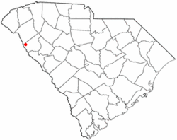 Location of Lowndesville, South Carolina