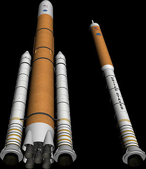 Ares I - An early concept image of the Ares I (right) and Ares V (left) rockets