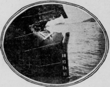 The damage sustained on Columbia's bow from the collision with the Berkeley.