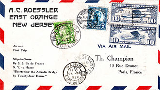 "SS Île de France - Flown cover carried on the first US to Europe ""catapult"" air mail from the Île de France at sea on August 23, 1928"