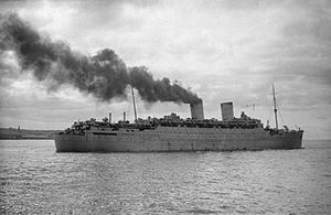 RMS Mauretania (1938) - Mauretania in her grey paint scheme