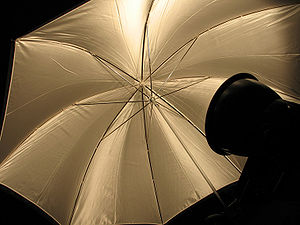 Reflector (photography) - A traditional umbrella-style reflector, used to diffuse light from a photographic lamp to which it is normally attached.