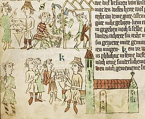 Lokator - A scene from the Sachsenspiegel shows a lokator (in hat) during the German Ostsiedlung around 1300