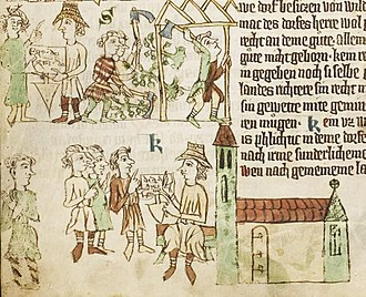 History of Silesia - Sachsenspiegel depicting the Ostsiedlung: the locator (with his special hat) receives the foundation charter from the landlord. Settlers clear the forest and build houses. The locator acts as the judge in the village.