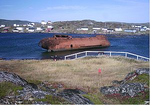 Red Bay, Newfoundland and Labrador - Basque whaling station on Saddle Island. The location of the sunken vessel San Juan (1565) is near the wreck of the Bernier, which grounded in 1966.