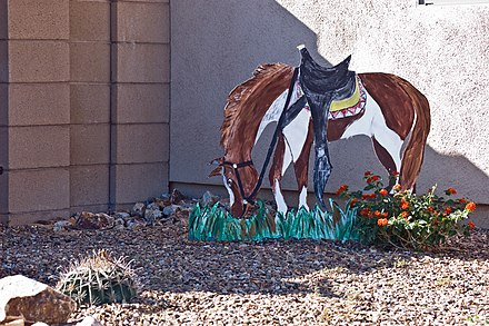 Yard art in Green Valley neighborhood Saddled Horse (NOT real).jpg
