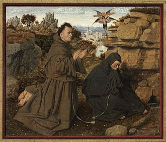 Brother Leo - Saint Francis of Assisi Receiving the Stigmata, attributed to Jan van Eyck, c. 1430-32, Philadelphia Museum of Art. Brother Leo crouches to our right.