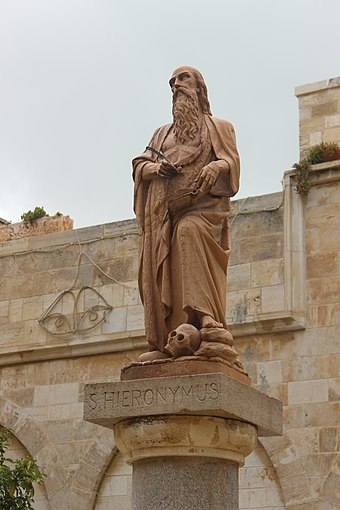 Statue of Saint Jerome (Hieronymus) - Bethlehem, Palestine Authority, West Bank Saint Jerome ( Hieronymus ).JPG