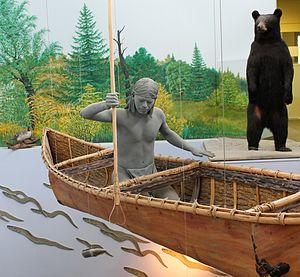 Sainte Marie among the Iroquois - An Onondaga man spears one of the once-plentiful eels from an elm-bark canoe in a display at the Sainte Marie Mission Interpretive Center