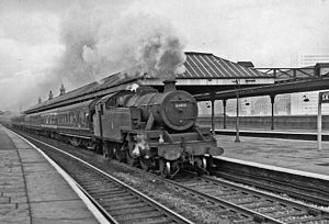 Salford Central railway station - Down local train passing through the station in 1959