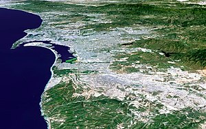3-D perspective image of the San Diego-Tijuana...
