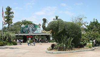 San Diego Zoo - Entrance to the zoo with an elephant topiary