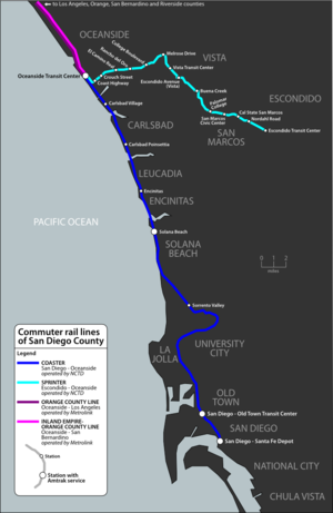 North County Transit District - Image: San Diego commuter rail map