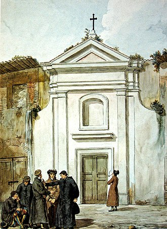 San Pellegrino in Vaticano - An 1834 watercolor of the façade of the church painted by Achille Pinelli
