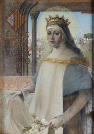 Elizabeth of Aragon - Sancta Isabel Regina by Francisco Vilaça, painted in 1893