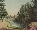 Sanderumgaard kvinde på bro Sommerlyst 1798 Clemens detail.png