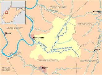 Sandy Creek (Ohio River) - Image: Sandy Creek (Ohio River) map