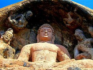 Bojjannakonda - A rock cut sitting Buddha statue at Bojjannakonda