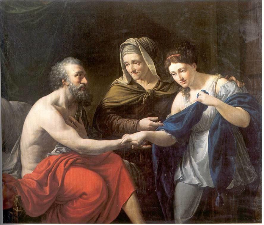 Sara presentando a la sierva egipcia Agar a su marido Abraham (Real Academia Catalana de Bellas Artes de San Jorge)