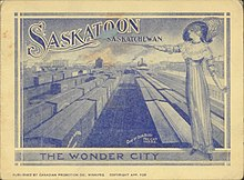"a woman standing over a busy trainyard in Saskatoon with the words ""Saskatoon, the Wonder City"""