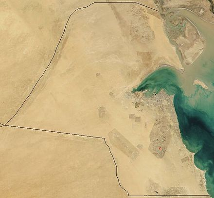 A satellite image of Kuwait reveals its desert topography. Satellite image of Kuwait in November 2001.jpg