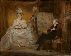 1752 in literature - Scene from Samuel Foote's satire Taste with the playwright cross-dressed as Lady Pentweazel (painting by Robert Smirke)