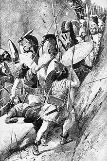 Dessin en noir et blanc d'hommes armés de lances et de boucliers s'affrontant dans un corps à corps dans un défilé rocheux