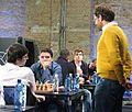 Schachweltelite auf dem Podium zur Blitzschach-WM Berlin 2015.JPG