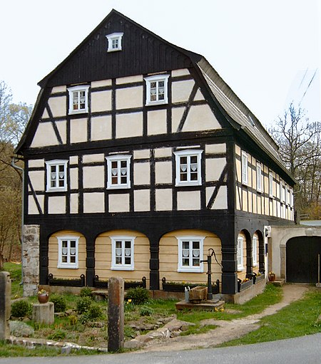 An Umgebindehaus converted from a former mill in Schirgiswalde