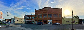 Scottville, Michigan - Panoramic image of Main Street facing the city hall