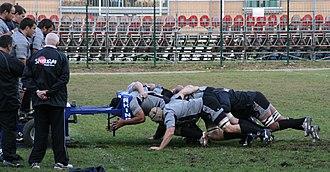 Scrum machine - A rugby union pack, training on a scrum machine.