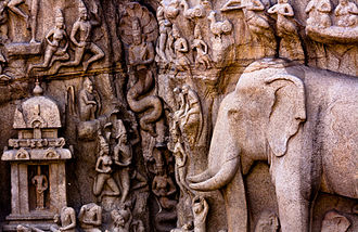 Descent of the Ganges (Mahabalipuram) - Detailing of sculptures showing the Vishni temple to the right of the cleft