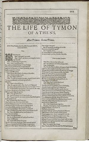 Timon of Athens - The first page of Timon of Athens, printed in the Second Folio of 1632