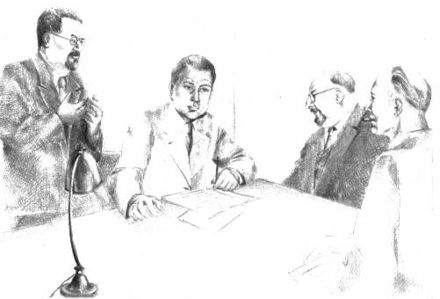 Artist's impression of a meeting of the PCF (Parti communiste francais) central committee at Longjumeau, 1943. Left to right: Benoit Frachon, Auguste Lecoeur, Jacques Duclos and Charles Tillon. Secretariat clandestin PCF 1943.jpg
