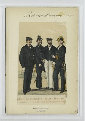 See-Cadet I.Cl. (in Jake); Mr.Kapellmstr. (in Galla); Mr. Arzt (in gewöhnl. Unif.); Mr. Beamte (in gr. Dienstes Unifrm) (NYPL b14896507-90710).tiff