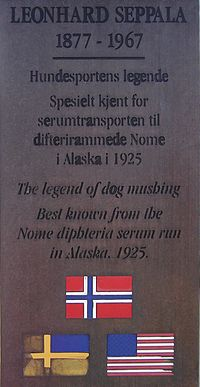 Plaque on the Leonhard Seppala monument in his hometown of Skibotn, Norway
