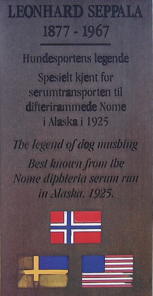 Leonhard Seppala - Plaque on the Leonhard Seppala monument in his hometown of Skibotn, Norway