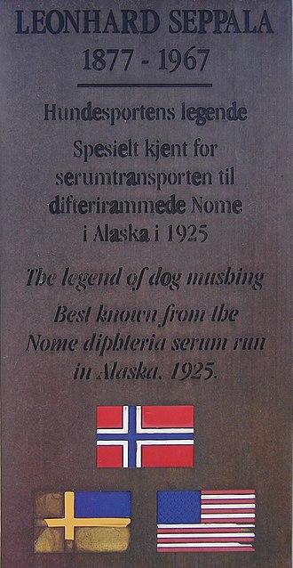 Skibotn - Image: Seppala plaque